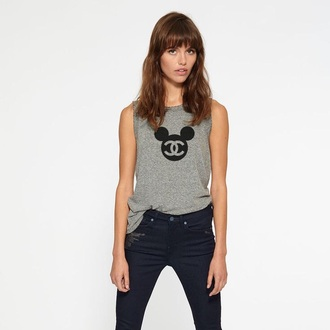 shirt channel disney grey tank top chanel mickey mouse