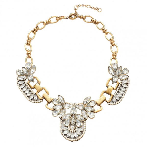 Trio sparkle crystal bib statement necklace