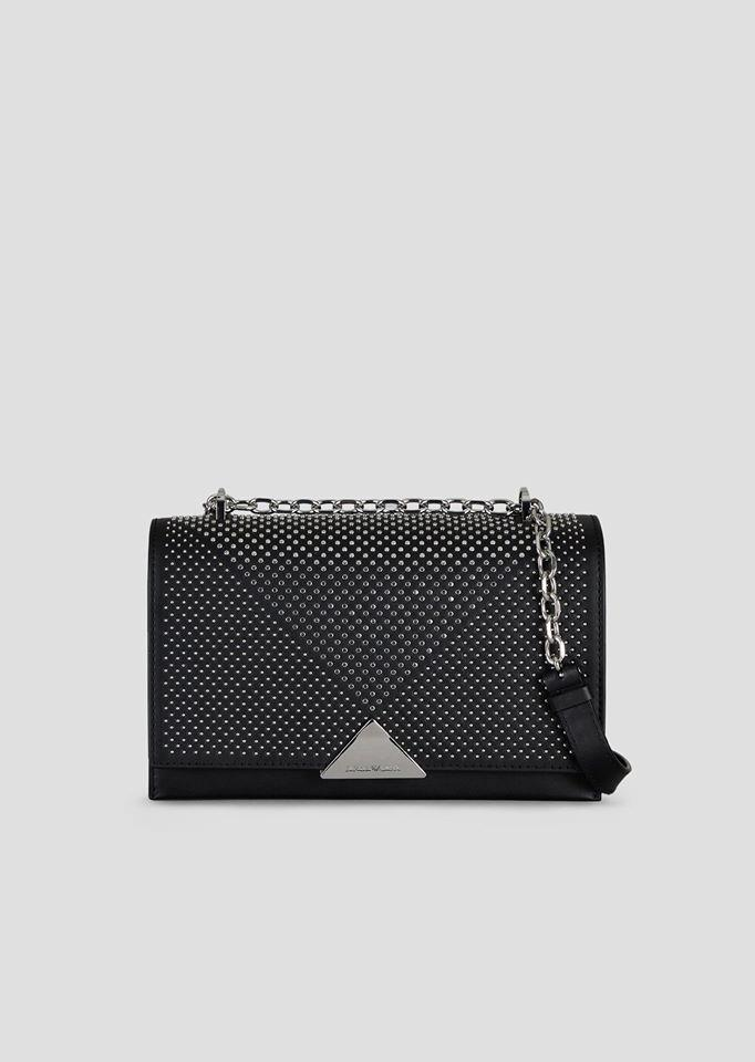 Cross-body bag in smooth leather with stud appliquŽs