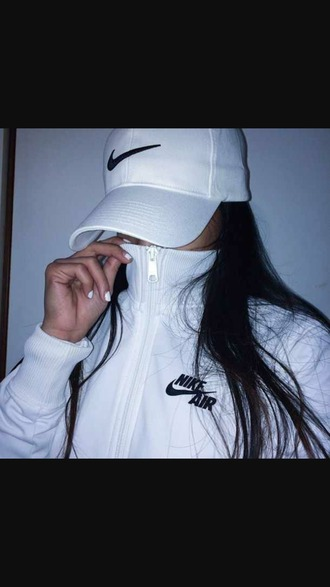 jacket nike air dope shit nike hat white jacket white hat swag jacket
