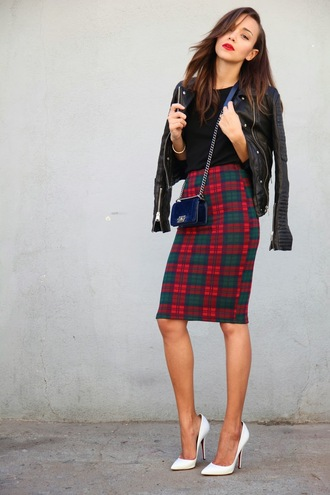 skirt ashley madekwe leather jacket plaid black t-shirt pumps white pumps
