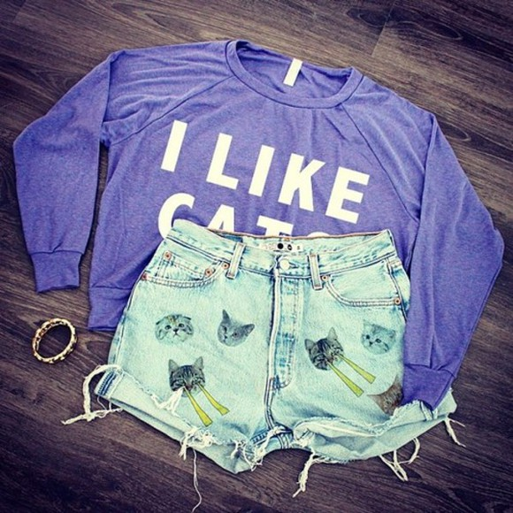 bracelet cute shorts sweater cats cat i like cats vintage adorable fashion crop