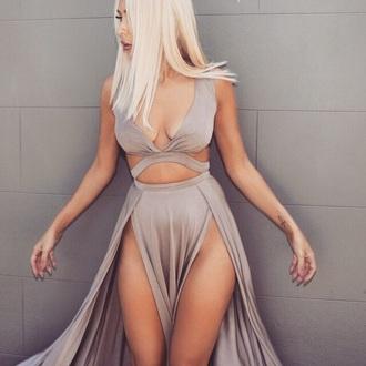 dress cut out dress gray sexy dress cute dress