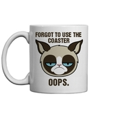 bag,mug,oops,forgot to use the coaster,grumpy cat,cats
