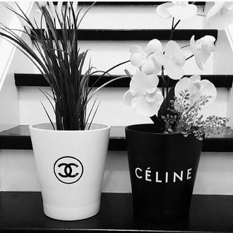 home accessory chanel celine black and white planter classy