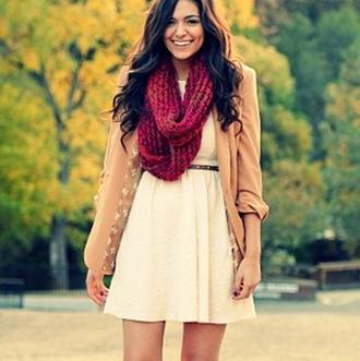 dress love the dress omg so cute bethany mota cute scarf scarf blouse beige burgundy back to school