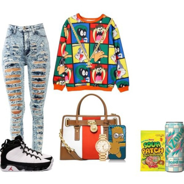 jeans ripped jeans cartoon shoes bag phone cover sweater looney toons