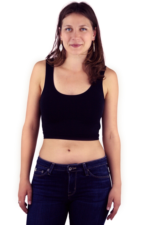 Organic Cotton Fitted Crop Tank - Black