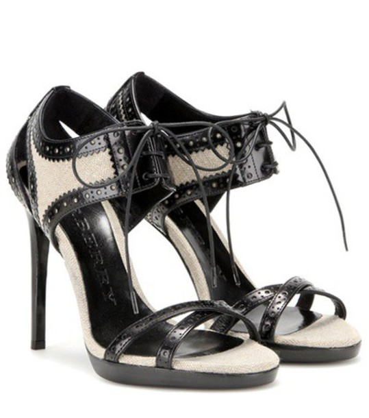 Burberry London sandals leather black shoes