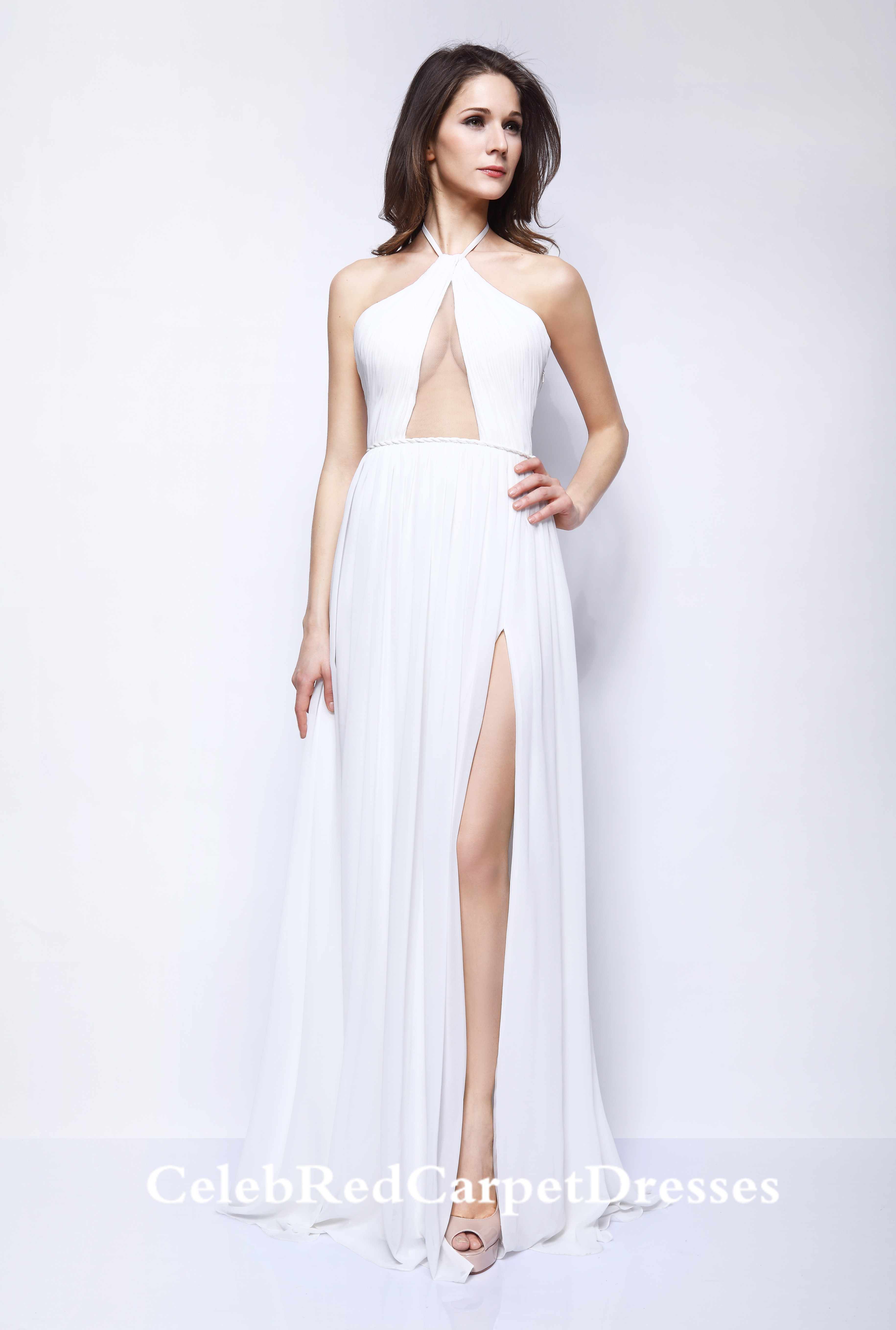 Taylor Swift White Chiffon Dress Fragrance Foundation Awards 2013