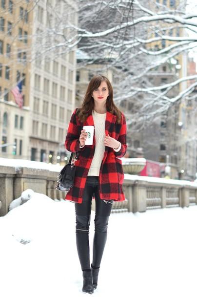 vogue haus blogger leather leggings flannel winter coat