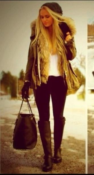 coat furry coat floppy hat wellies blonde hair