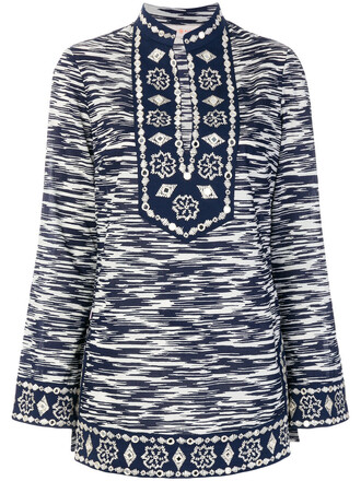 tunic women embellished cotton blue top