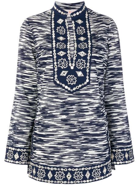 Tory Burch tunic women embellished cotton blue top