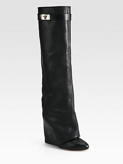 Givenchy - Leather Knee-High Sheath Boots - Saks.com
