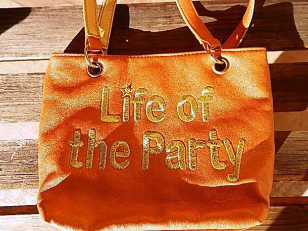 bag life of the party cosmetic bag purse orange golden bag hipster cyber ghetto