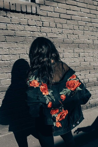 jacket denim jacket roses embroidered bomber jacket embellished jacket mesh urban oversized jacket floral floral jacket black bomber jacket streetstyle black hair long hair pinterest green red flowers black girl women back jeans coat