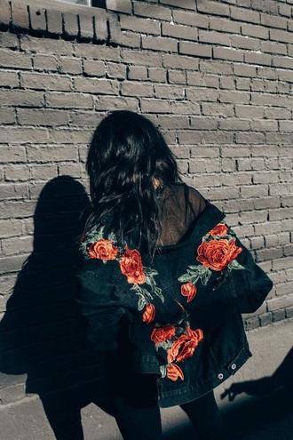jacket denim jacket roses embroidered bomber jacket embellished jacket mesh urban oversized jacket floral floral jacket black bomber jacket streetstyle black hair long hair pinterest green red flowers black girl women back jeans coat