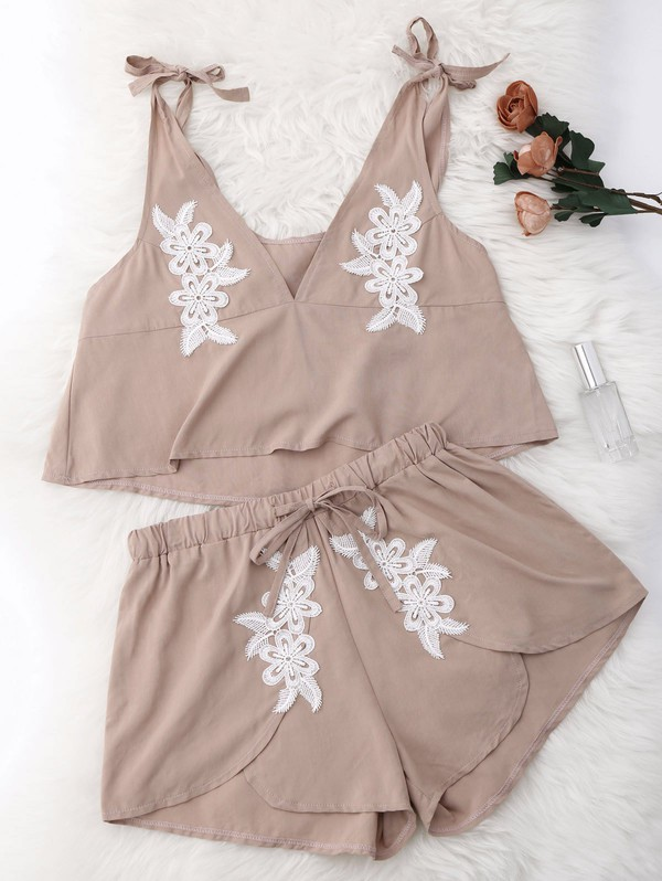 romper two-piece two-piece lazy day loungewear suit nude two piece drawstring suit lace suit applique suit