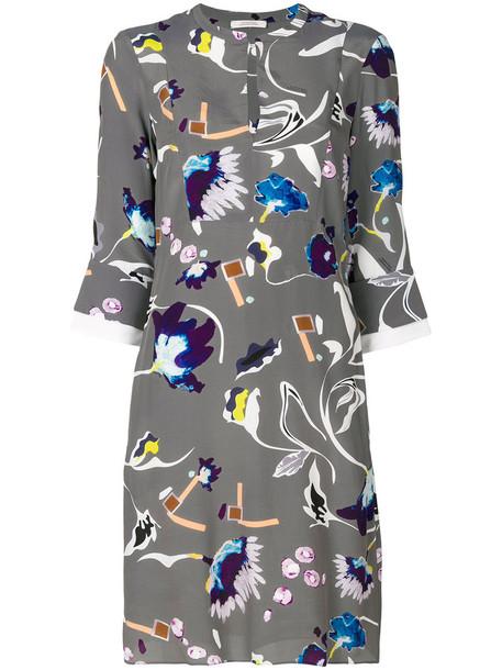 dress print dress women floral print silk grey