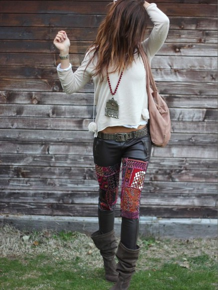 tribal pattern boho leather jeans boho pattern patches leather pants