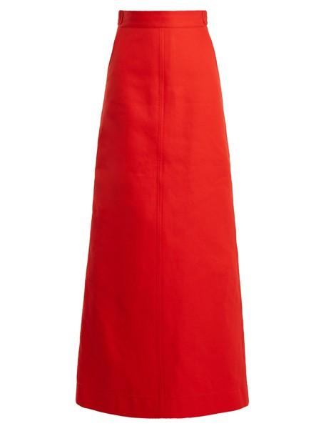 skirt maxi skirt maxi cotton red