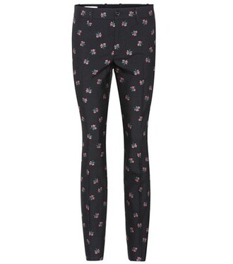 embroidered cotton wool black pants