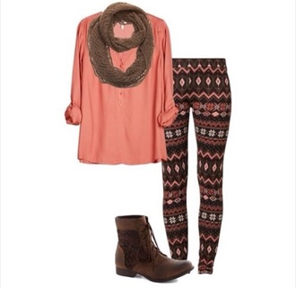 top outfit boots leggings scarf