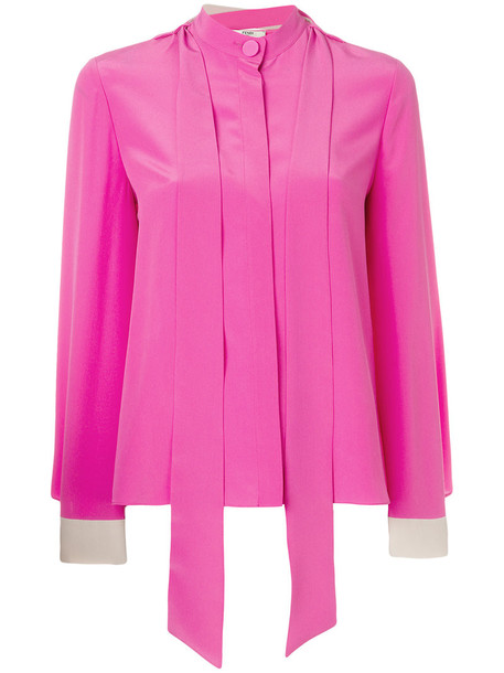 Fendi blouse women silk purple pink top