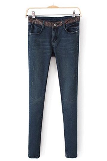 European PU Stitching Waist Jeans [FHBI0043]- US$ 29.99 - PersunMall.com