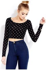 Forever 21 sweet dots crop top in black (black/cream)