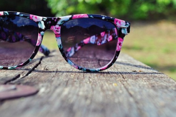 sunglasses flowers floral summer pink blue black ray ban glasses floral sunglasses