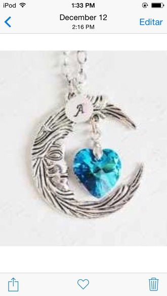 jewels crystal heart silver moon necklace moon necklace moon jewlery silver jewelry