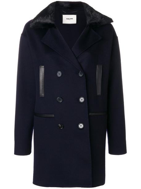 Max & Moi coat fur women blue wool