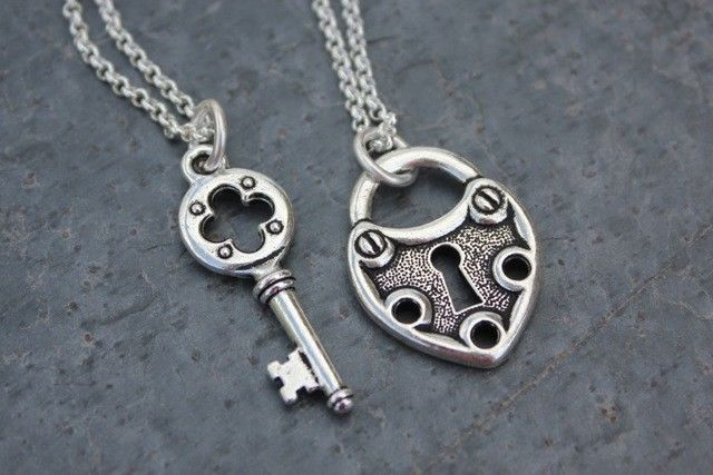 Key to My Heart Steampunk Couples Necklace Set Silver Two Necklaces | eBay