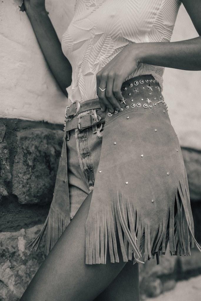 Grey Paris Texas Chaps Skirt