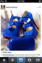 shoes,bows,dark blue,high heels