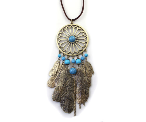 New Burnished Gold Dreamcatcher Blue Bead Filigree Metal Feather Charms Necklace | eBay