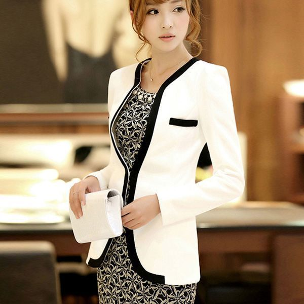White Black Colors Fashion New Slim Ladies Womens Suit Coat Blazer Jacket Button | eBay