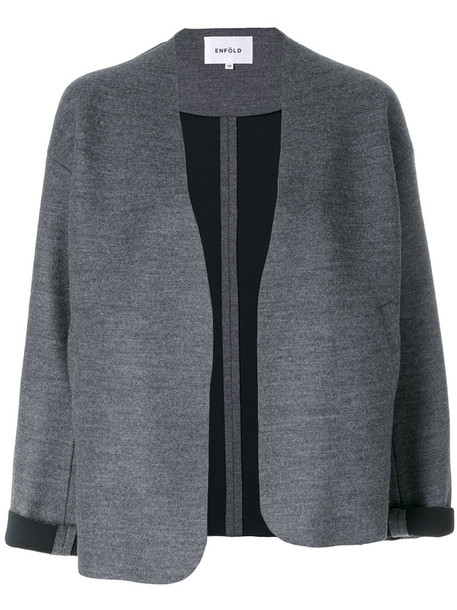 jacket cropped women fit wool grey