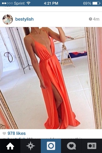 dress maxi summer beach orange short low cut low this dress coral dress maxi dress summer summer dress orange long dress red dress red stars orange dress cleavage dress