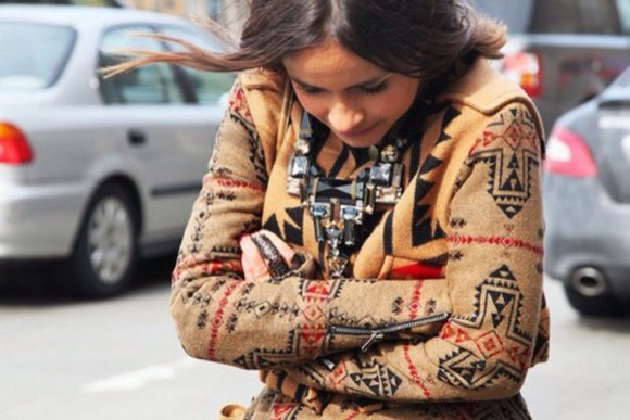 ethnic necklace cardigan