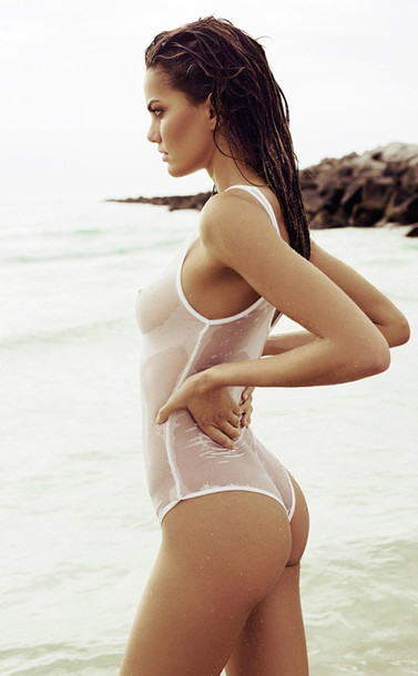 Swimwear Sheer One Piece Swimsuit White Beach Summer