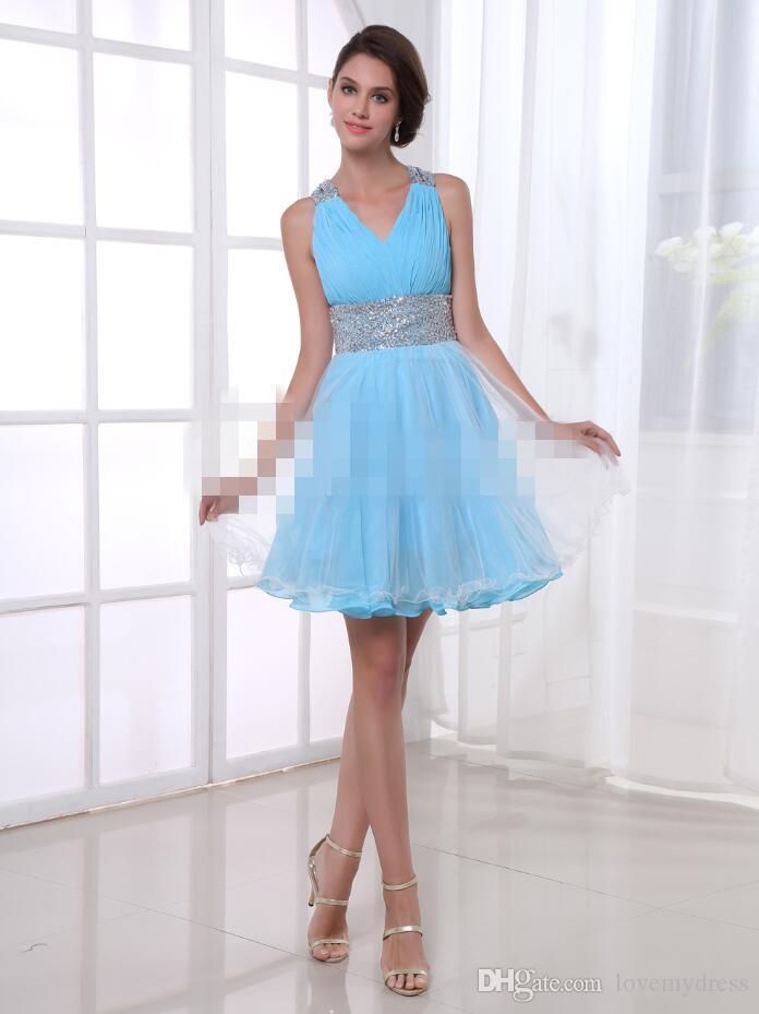 V Neck Chiffon Gown Crystals Shiny Dress Criss Cross Back Cute ...