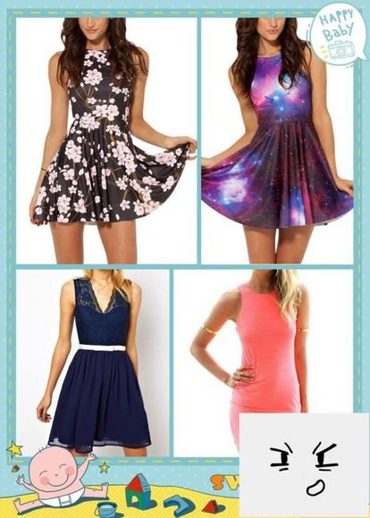 cherry blossom dress galaxy print navy