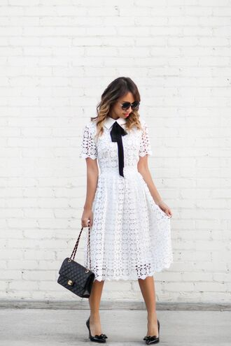 lace and locks blogger dress shoes bag jacket sunglasses white dress lace dress white lace dress round sunglasses chanel black bag shoulder bag heels black heels date outfit
