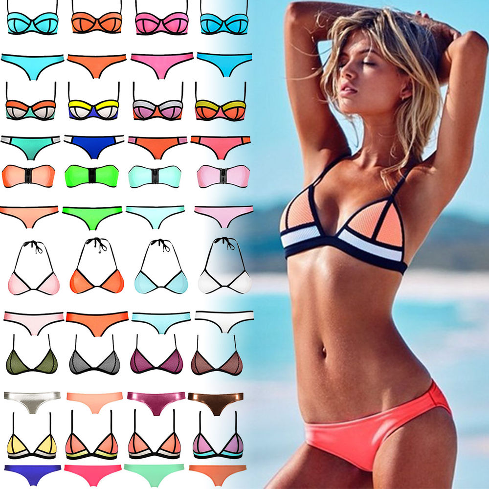 sexy womens neoprene triangle bikini push up padded swimsuit swimwear beachwear. Black Bedroom Furniture Sets. Home Design Ideas