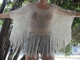 shirt indie crochet lace tassel white see through beach dress beach shirt chrochet lace tumblr girl shorts white lace blouse