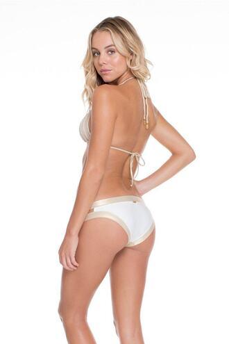 swimwear full bikini bottoms gold luli fama white bikiniluxe