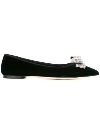 bow embellished green shoes